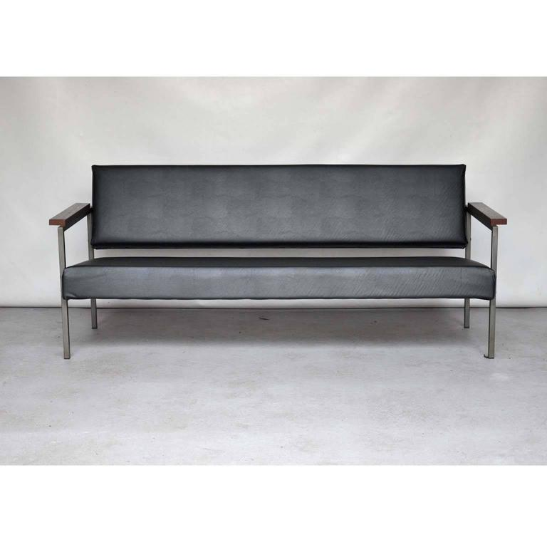 Mid Century Dutch Sofa in Black Vinyl For Sale at 1stdibs