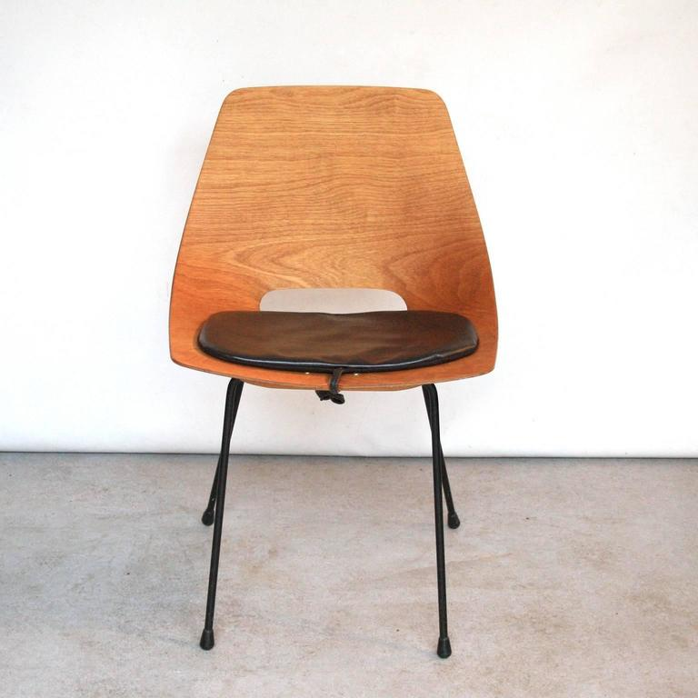 "Pierre Guariche ""Tonneau"" Dining Chair for Steiner, France, 1951 4"