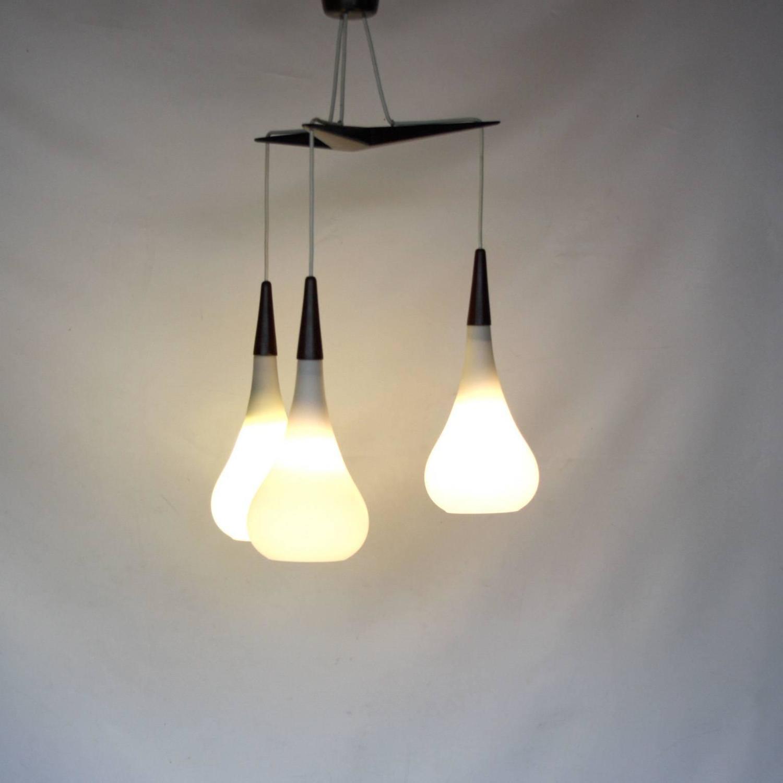 Holmegaard Teardrop Trio White Glass Pendant Light For