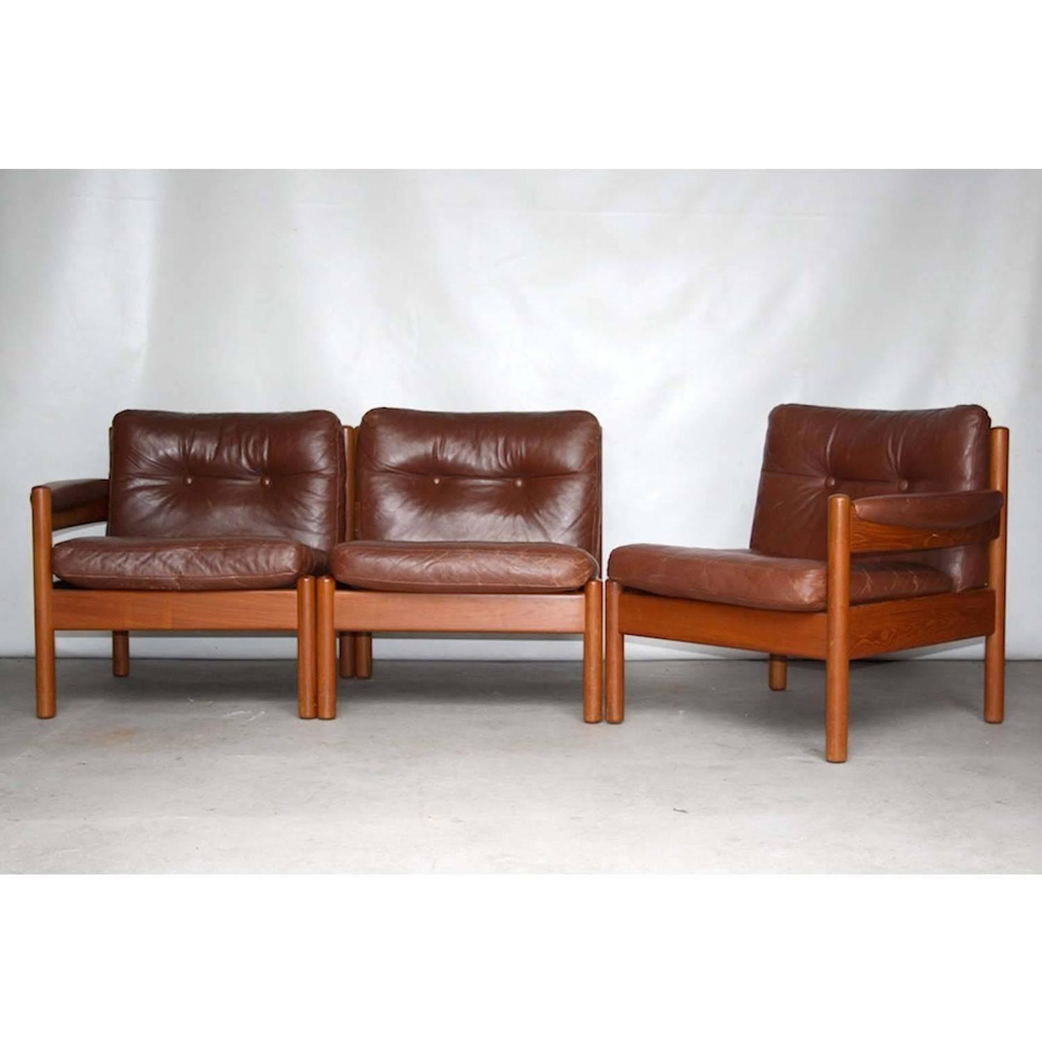 Lodge Or Cottage Style Mid Century Scandinavian Leather Modular Sofa 1960s For Sale At 1stdibs