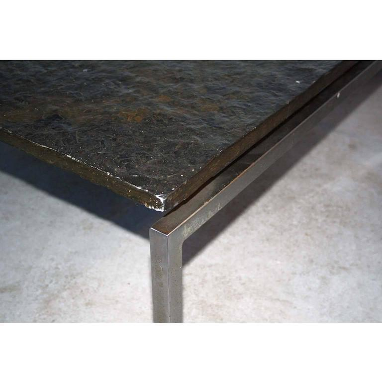 Natural Stone Coffee Table: Pair Of Dutch Modern Natural Stone And Steel Coffee Tables