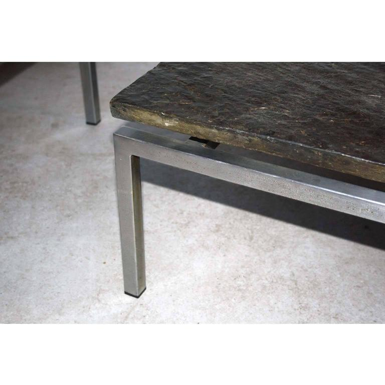 Pair Of Dutch Modern Natural Stone And Steel Coffee Tables 1950s For Sale At 1stdibs