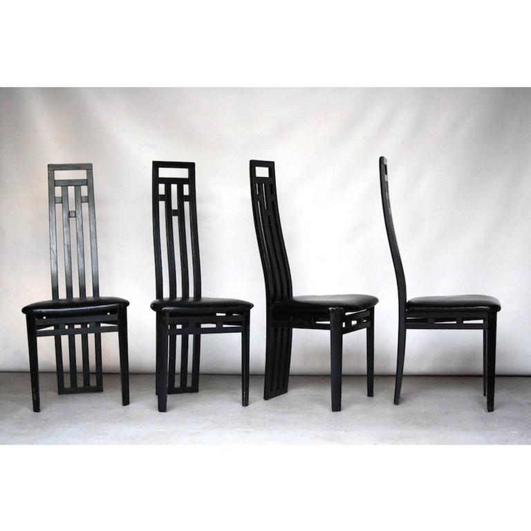Italian Set Of Dining Chairs By A Sibau 1980 For Sale At