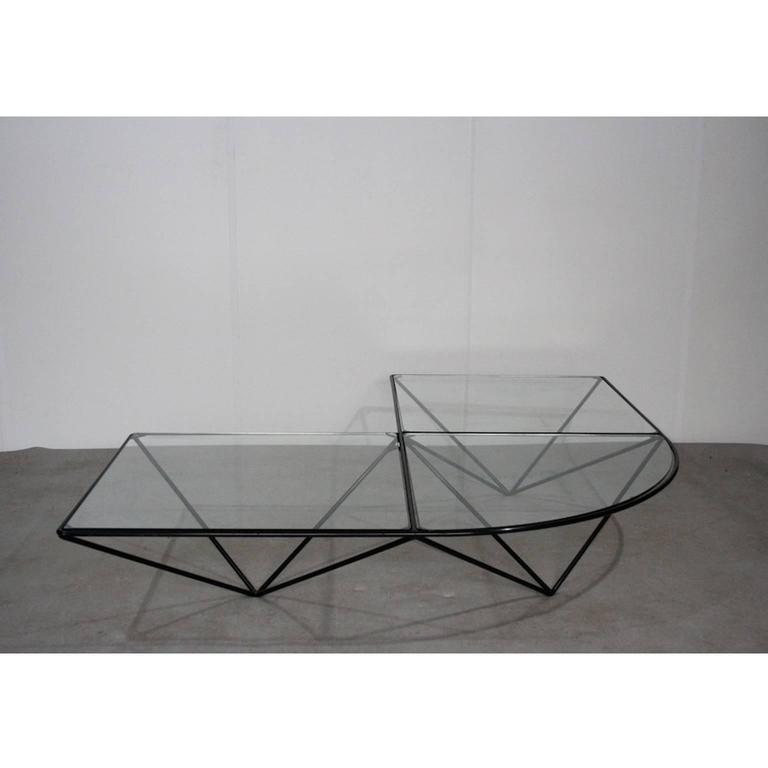 Artimeta Attributed Square Metal And Glass Coffee Table At: Glass And Metal Corner Coffee Table Attributed To Paola