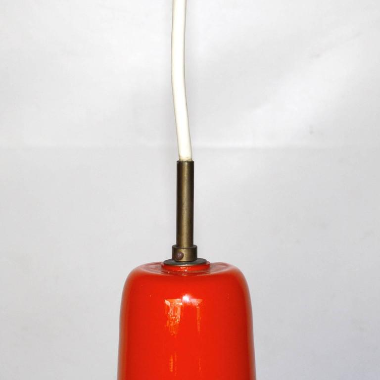 Orange Glass Pendant Light By Venini Murano Italy 1960