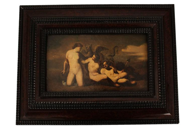 The Erynies: Alecto, Tisiphone, Megaera by Pierre-Paul Prud'hon (French, 1758-1823) oil on canvas France, late 18th century Measures: H 10.75; W 6 in,   The Erynies are the three Furies of Roman and Greek mythology; female spirits of Justice