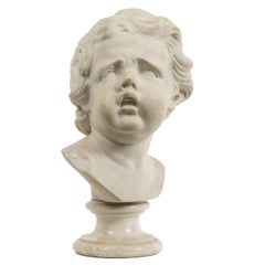 Italian Baroque Marble Head of a Boy