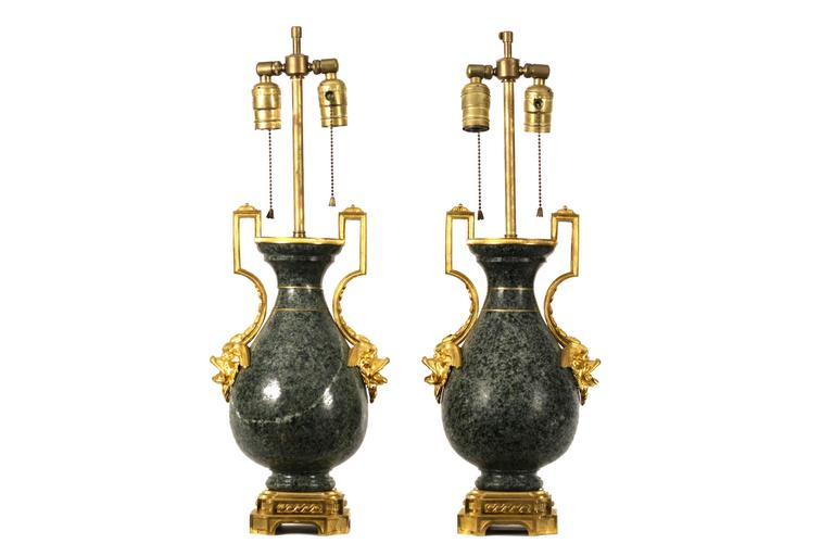 French Pair of 19th Century Ormolu-Mounted Granite Vases For Sale