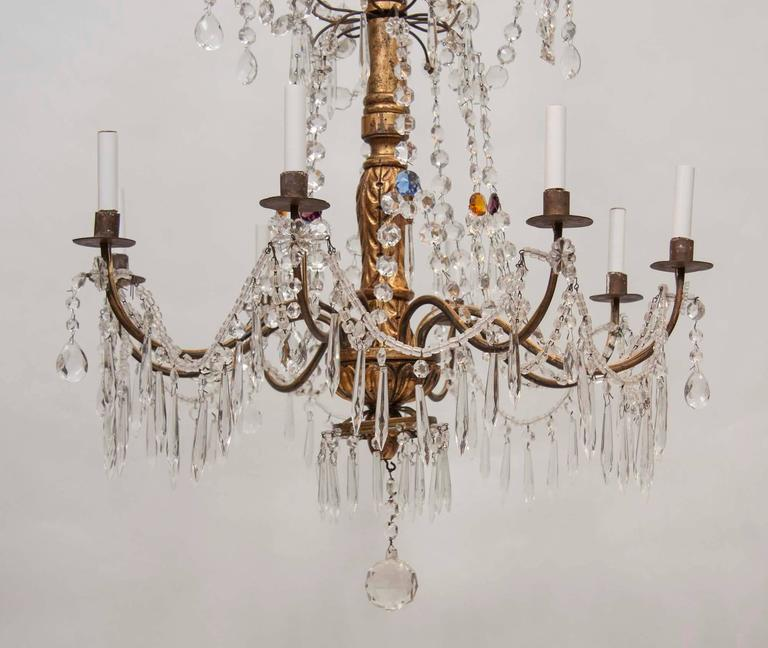 Italian Mid-18th Century Genovese Giltwood and Crystal Chandelier In Good Condition For Sale In New York, NY