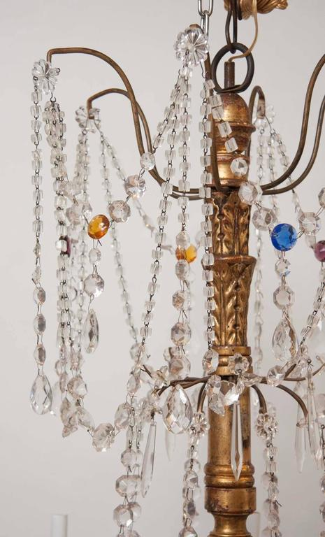 Italian Mid-18th Century Genovese Giltwood and Crystal Chandelier For Sale 1