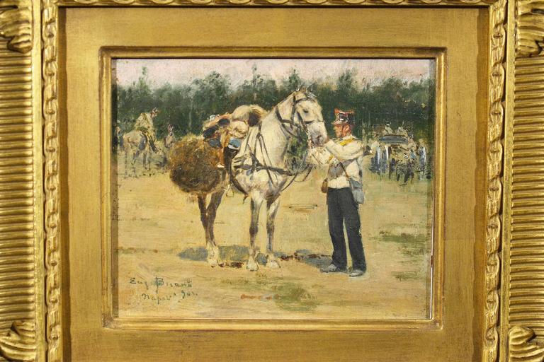 Eugenio Buono (1863-1954, Italian). Soldier preparing his horse. Oil on board.