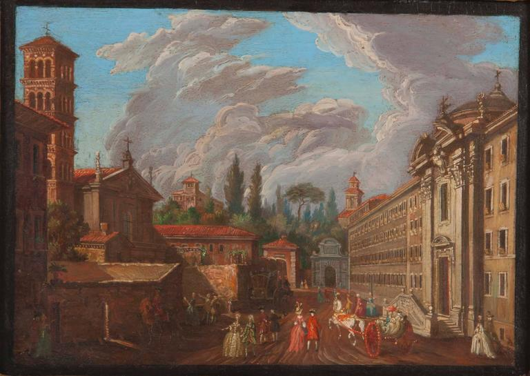 Roman views, Italy, 18th century.  Sight 8.75 in. x 6.75 in. framed 14 in. x 12 in.