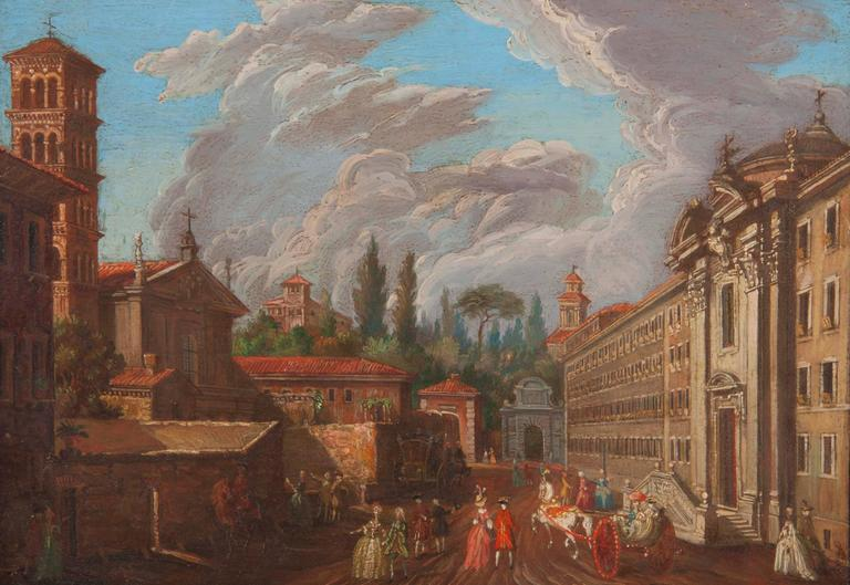 Pair of Italian 18th Century Roman Views In Good Condition For Sale In New York, NY