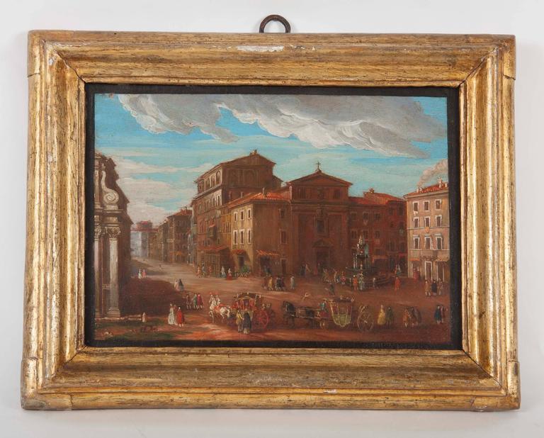 Oil Pair of Italian 18th Century Roman Views For Sale