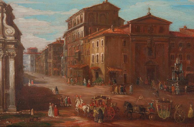 Pair of Italian 18th Century Roman Views For Sale 1