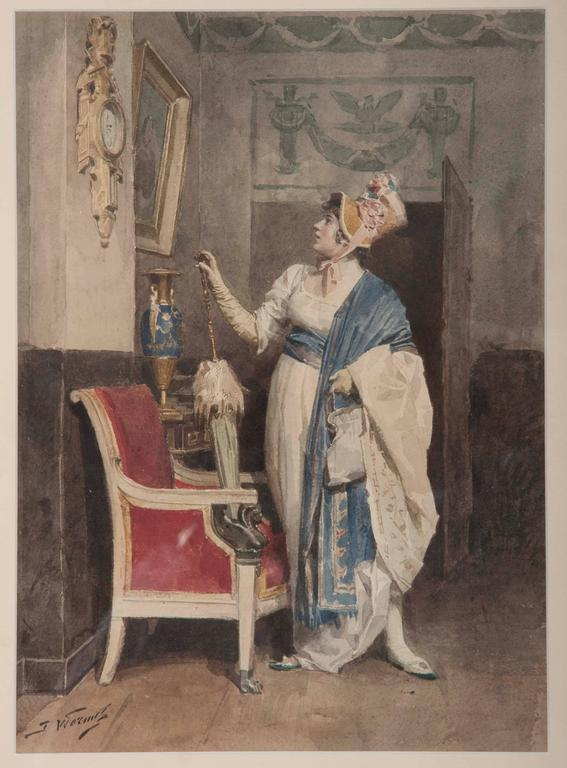 Jules Worms (French, 1832–1914). Lady Admiring a painting. Watercolor. Measures: 15 x 10 in.