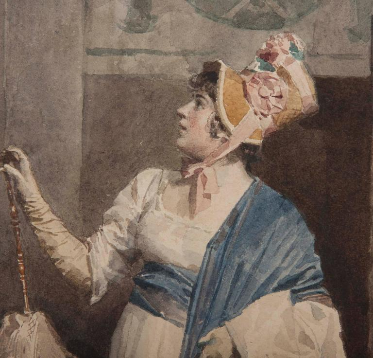 French Lady Admiring a Painting by Jules Worms For Sale