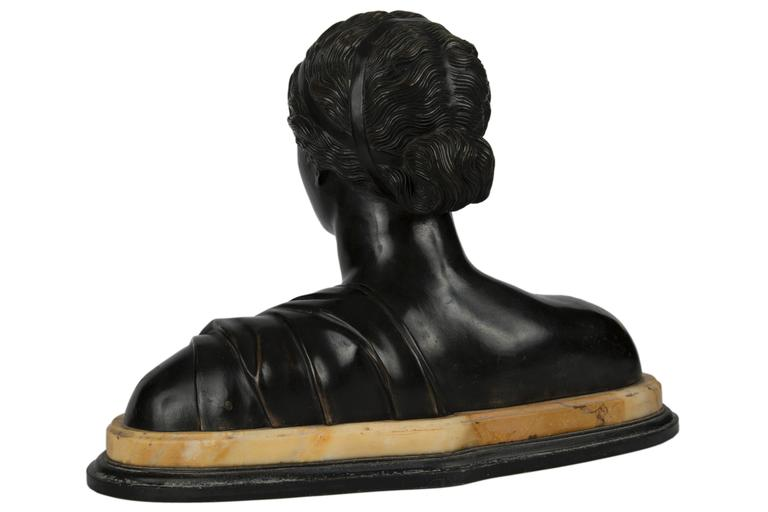 Grand Tour 19th Century Patinated Bronze Portrait Bust of a Classical Woman For Sale