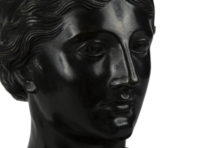 19th Century Patinated Bronze Portrait Bust of a Classical Woman In Excellent Condition For Sale In New York, NY