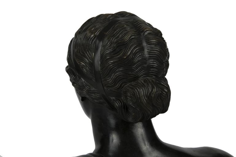 Italian 19th Century Patinated Bronze Portrait Bust of a Classical Woman For Sale