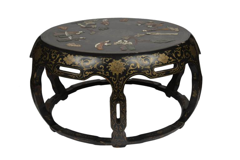 Chinese Black Lacquer Round Coffee Table At 1stdibs