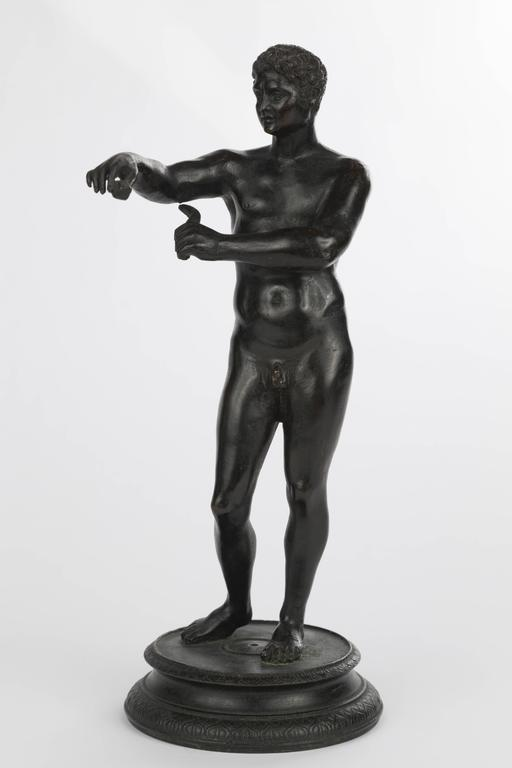 Patinated Italian Grand Tour Bronze Figure of an Athlete For Sale