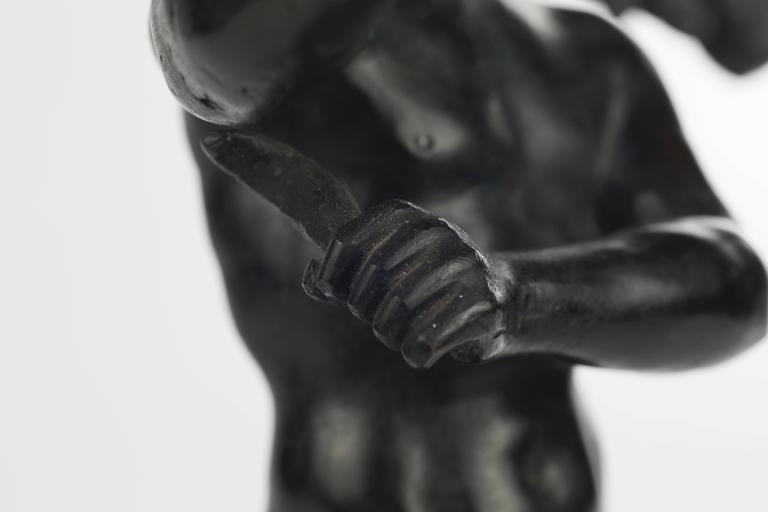 19th Century Italian Grand Tour Bronze Figure of an Athlete For Sale