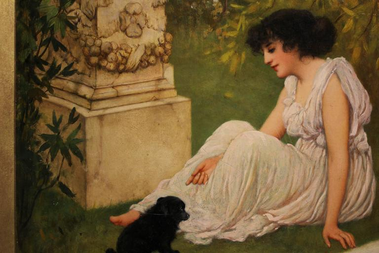 English Oliver Rhys (England, 1876-1898), Lady with Her Puppy in a Garden For Sale