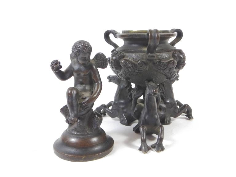 Renaissance 18th Century Venetian Bronze Figural Inkwell For Sale