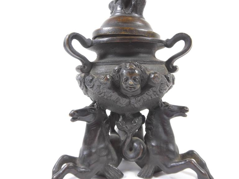 Patinated 18th Century Venetian Bronze Figural Inkwell For Sale