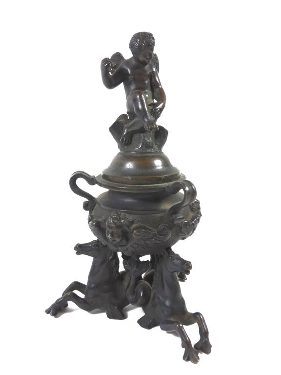 Italian 18th Century Venetian Bronze Figural Inkwell For Sale