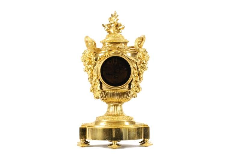 Gilt Louis XVI Style Ormolu Mantel Clock For Sale