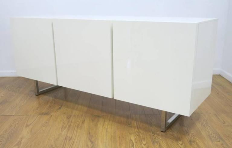 pretty inspiration modern credenza. Lacquered white inside and out  this beautiful minimal credenza has two compartments with three push Modern White Credenza Buffet Dresser by Calligaris at