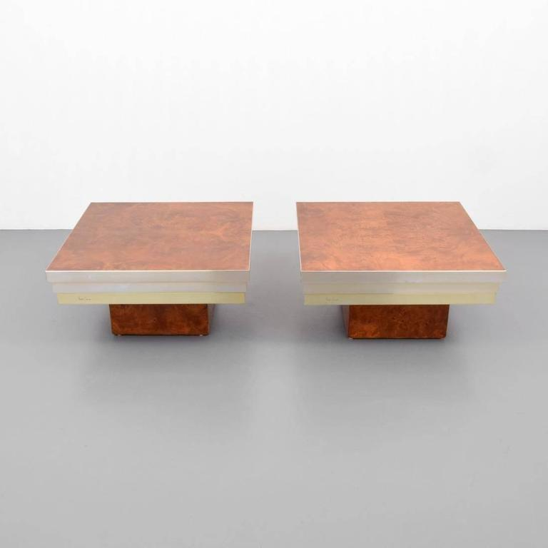 Beautiful Pair Of Pierre Cardin Burl Wood And Chrome Side Tables, Signed 2
