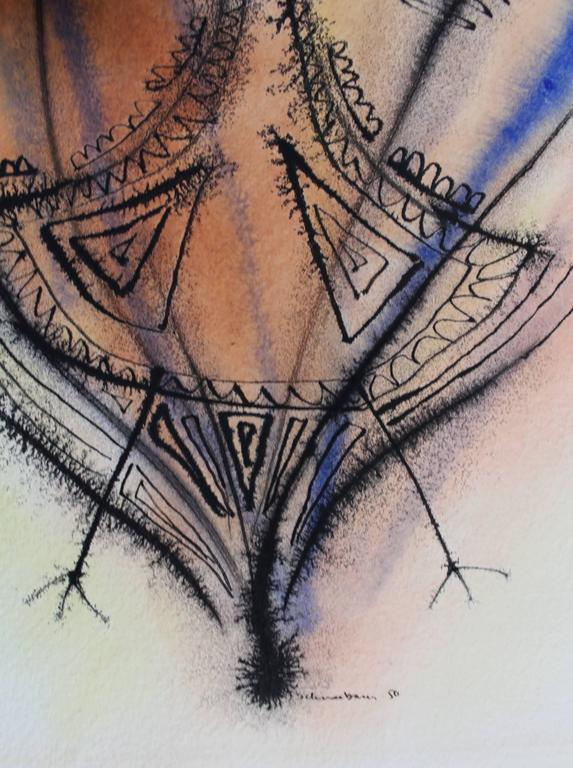 Modern Abstract Ink and Watercolor Drawing by Tobias Schneebaum For Sale