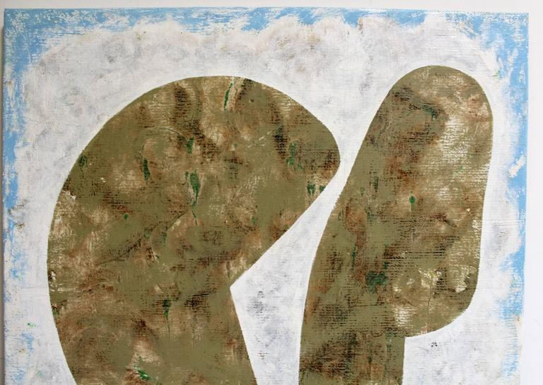 Rare Minimalist, modern piece from French-American artist Jacques Lamy with two floating abstract figures on an implied landscape. Acrylic and chalk on burlap and plaster. Signed on bottom right corner and dated