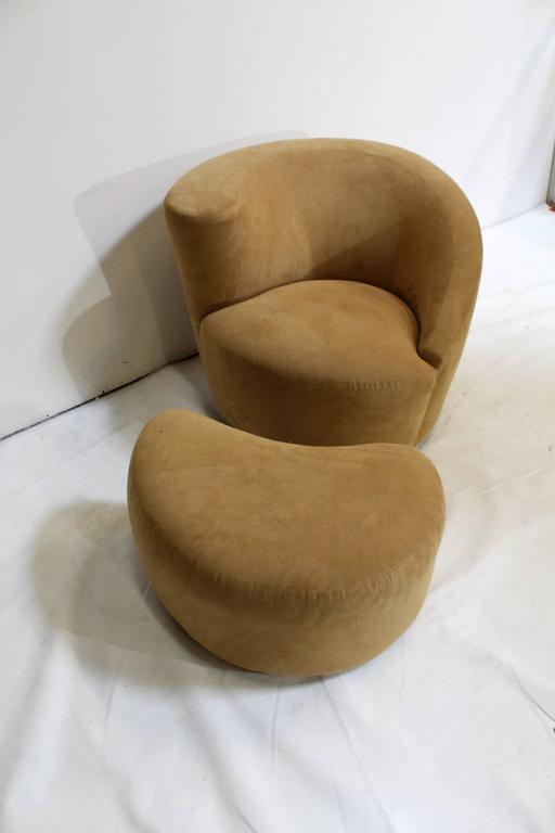 Vladimir Kagan swivel chair and ottoman for Weiman Furniture. Labelled under both, circa early 1990s.