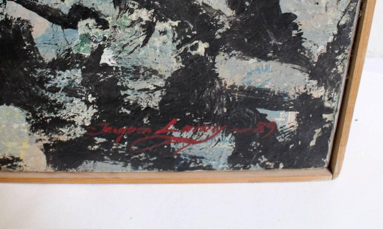 20th Century Large Abstract Expressionist Painting in Black and Green by Artist Jacques Lamy For Sale