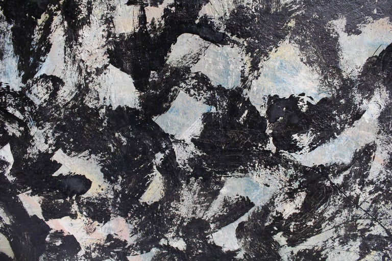 Large Abstract Expressionist Painting in Black and Green by Artist Jacques Lamy In Good Condition For Sale In Dallas, TX