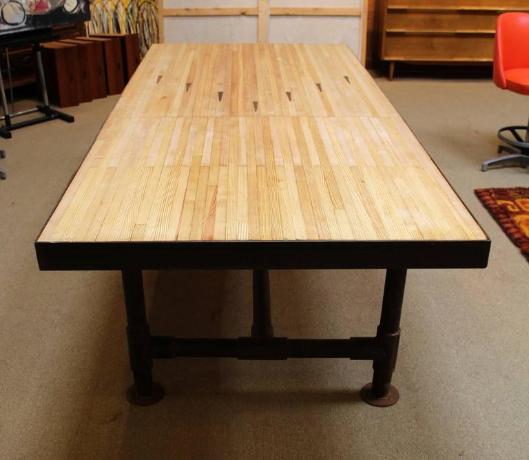 Large Dining Room Table With Vintage Bowling Alley Floor For Top And Reclaimed Piping