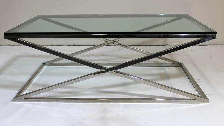 Mid-Century Modern Rectangular Glass Coffee Table Chrome X Base 3 - Mid-Century Modern Rectangular Glass Coffee Table Chrome X Base