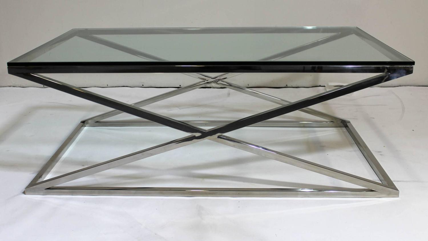 Mid Century Modern Rectangular Glass Coffee Table Chrome X Base For Sale At 1stdibs