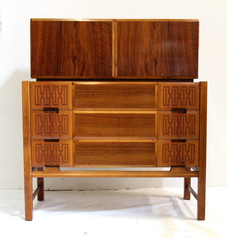 Scandinavian Mid Century Modern Two Piece Cabinet Chest Dresser Edmond J Spence For Sale At 1stdibs