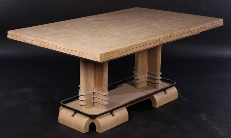 French Frank Lloyd Wright Style Art Deco Cerused Oak Dining Table For