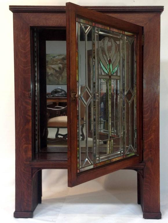 Large Antique Quarter Sawn Oak Cabinet With A Beautiful Stained Glass Door Classic
