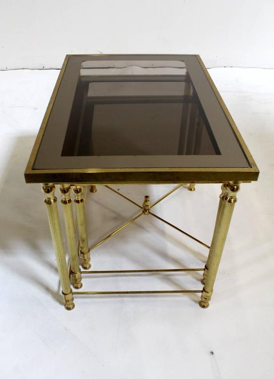 Maison Jansen Style Brass Smoked Glass Nesting Tables For