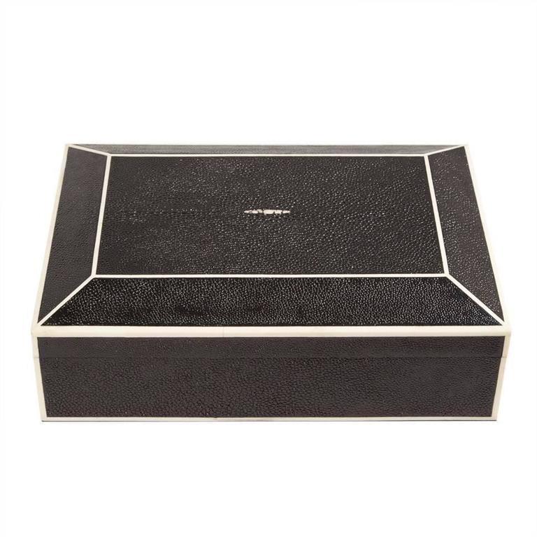 Beveled Black Shagreen box with bone inlay