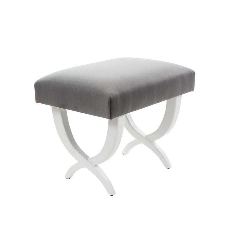 Pair of white lacquered stools upholstered with Grey silk fabric. Please contact us for any other information