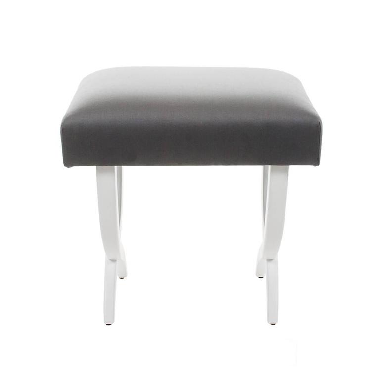 Modern Pair of Stools with Lacquered Wood Frame and Gray Silk Fabric For Sale