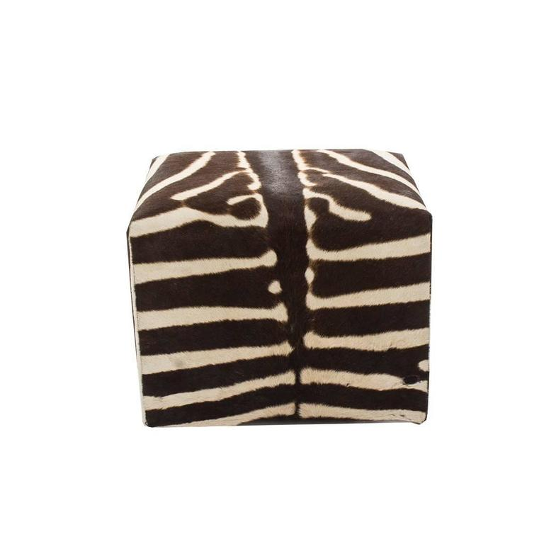 African Zebra Cube Ottoman For Sale At 1stdibs